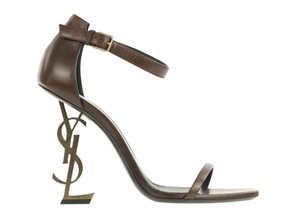 Saint Laurent Ysl Leather Heel Brown Sandals