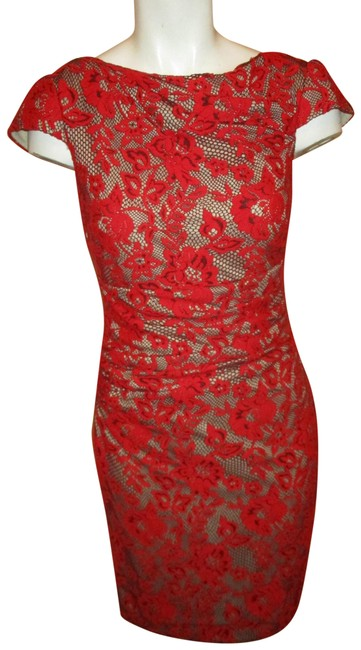 Item - Red & Nude Cap Sleeve Stretch Lace Short Cocktail Dress Size 4 (S)