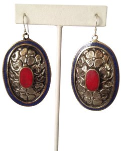 My Closet- Embellished by Leecia Inlayed Lapis & Red Coral Concha Large Earrings