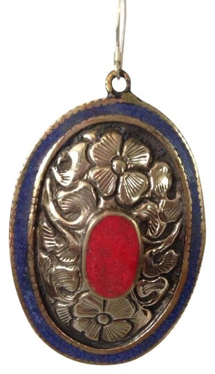 My Closet- Embellished by Leecia Inlayed Lapis & Red Coral Concha Large Earrings Image 1