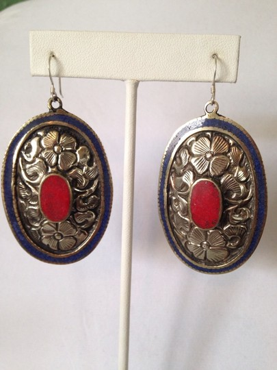 My Closet- Embellished by Leecia Inlayed Lapis & Red Coral Concha Large Earrings Image 2