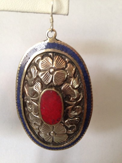 My Closet- Embellished by Leecia Inlayed Lapis & Red Coral Concha Large Earrings Image 3