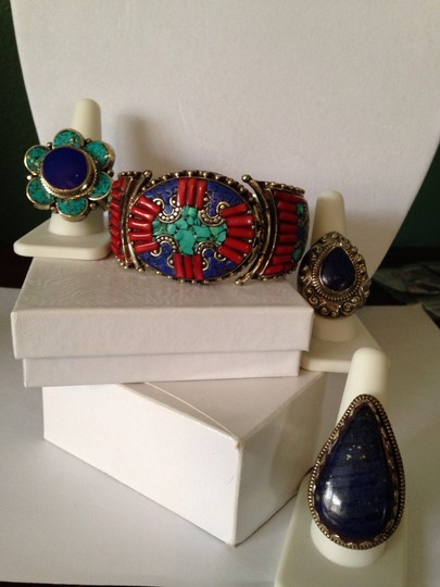 My Closet- Embellished by Leecia Inlayed Lapis & Red Coral Concha Large Earrings Image 5