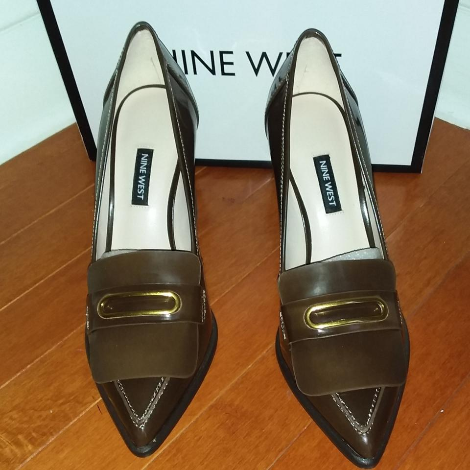 Nine West Brown Penny Keeper Patent Leather Pumps Size US 9 Regular (M, B)