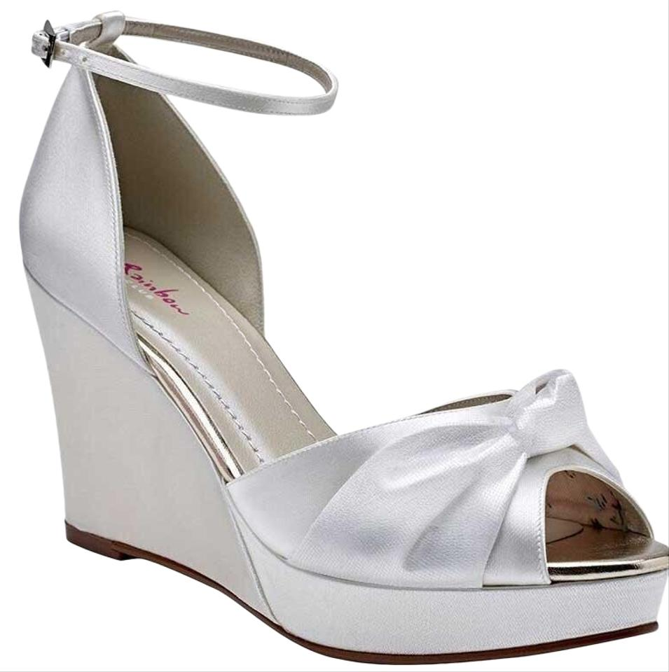 bf150dfae6 Rainbow Club White Patrice Satin Dyeable Platform Two Pairs Of Bridal Wedges.  From A Fancy British Bridal Formal Shoes