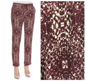 Haute Hippie Tapered Loose Ankle Crop Trouser Pants Red