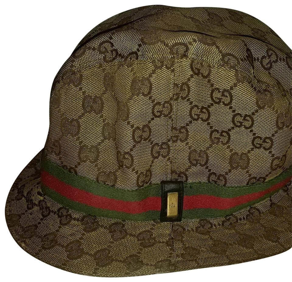 8f731fe02 Gucci Brown Bucket L Monogram with Signature Red and Green Webbing Size Hat