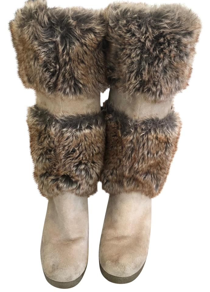 6faa9cc6123d Victoria s Secret Carmel Suede Brown Fur Wedge Boots Booties Size US ...