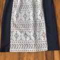 Anne Klein Navy Tan and Ivory Fully Lined Mid-length Work/Office Dress Size 4 (S) Anne Klein Navy Tan and Ivory Fully Lined Mid-length Work/Office Dress Size 4 (S) Image 2