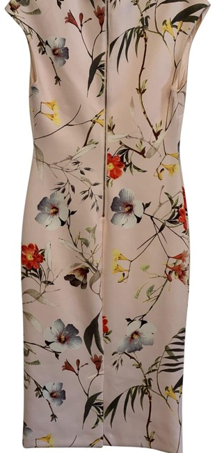 Item - Pale Pink Floral Mid-length Work/Office Dress Size 8 (M)