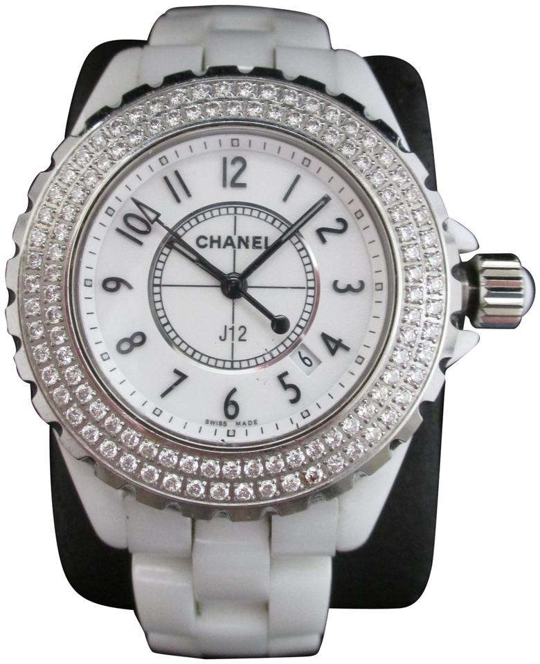083e5d6deea5b Chanel CHANEL J12 33mm White Ceramic Watch with Double Diamond Bezel in Box  Image 0 ...