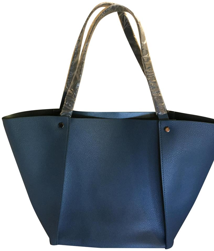 ffaa836af Neiman Marcus Blue Faux Leather Tote - Tradesy