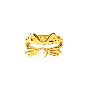 Kate Spade Brand New Kate Spade Out West Cat Ring in GOLD with Pearlescent Nose