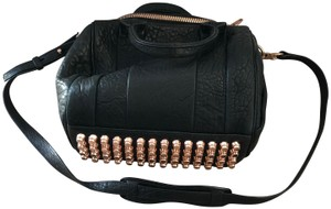 Alexander Wang Studded Pebbled Satchel in black and rose gold