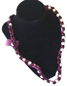Lanvin Lanvin pearl and burgundy velvet necklace