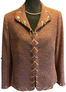 Escada Leather Stitching Lined Hook Closure Lovely Fit Tweed Jacket