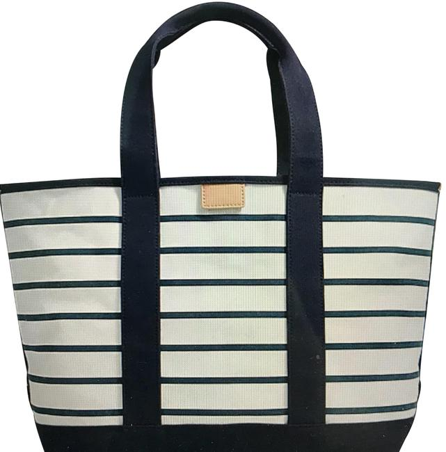 Item - Tote White with Navy Stripes Canvas Beach Bag