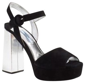 Prada Black and Silver Platforms