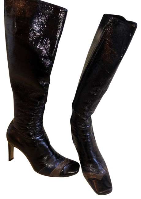 Item - Patent Leather Chevron Heeled Boots/Booties Size US 7 Regular (M, B)