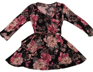 PinkBlush black floral stretchy wrap top