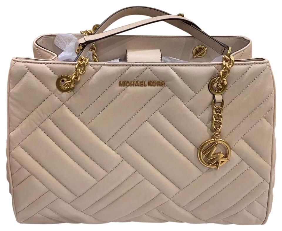 11c3e74972c2 Michael Kors Vivianne Quilted Pink 35h8avat3l Ballet Leather Tote ...