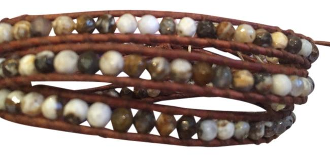 Item - Multicolor Agate and Brown Leather Wrap Bracelet