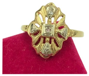 14KT 14KT Yellow Gold Edwardian Art Deco Diamond Ring