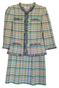 St. John St. John Collection Skirt Suit with Eylased Trim - MultiColored