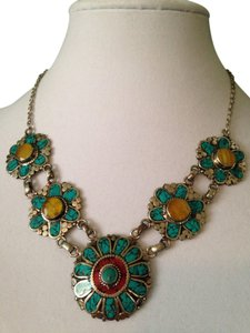 Turquoise, Red Coral & Yellow Agate Silver Necklace