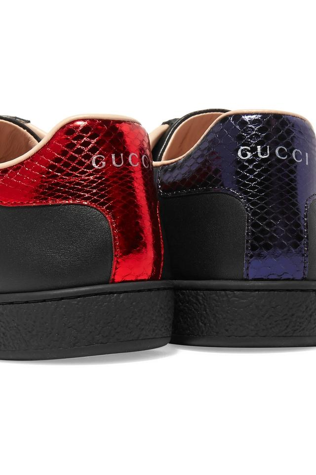 939ac574 Gucci Black Gucci's 'ace' Watersnake-trimmed Embroiled Sneakers Size EU 40  (Approx. US 10) Regular (M, B)