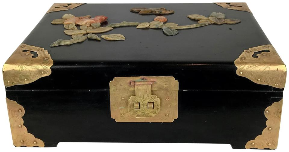 Black Gold 1950 S Chinese Lacquer Jade Flowers Music Red Silk Box