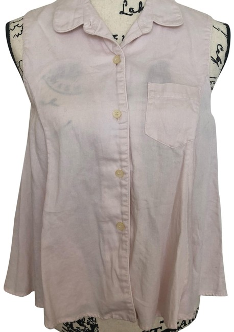 Item - Pink; White Sleeveless Button-down Top Size 8 (M)