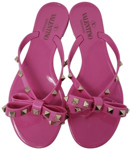 8977914df Valentino Rockstud Gold Hardware Jelly Bow Studded Pink Sandals