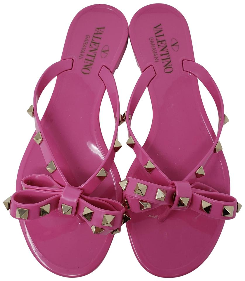 7a2eef991a2f Valentino Pink Jelly Rockstud Bow Slide Sandals Size EU 37 (Approx ...