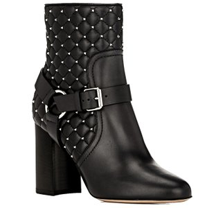 Valentino Made In Italy Luxury Designer Spike Stud Rockstud Spike Quilted Leather Black Boots