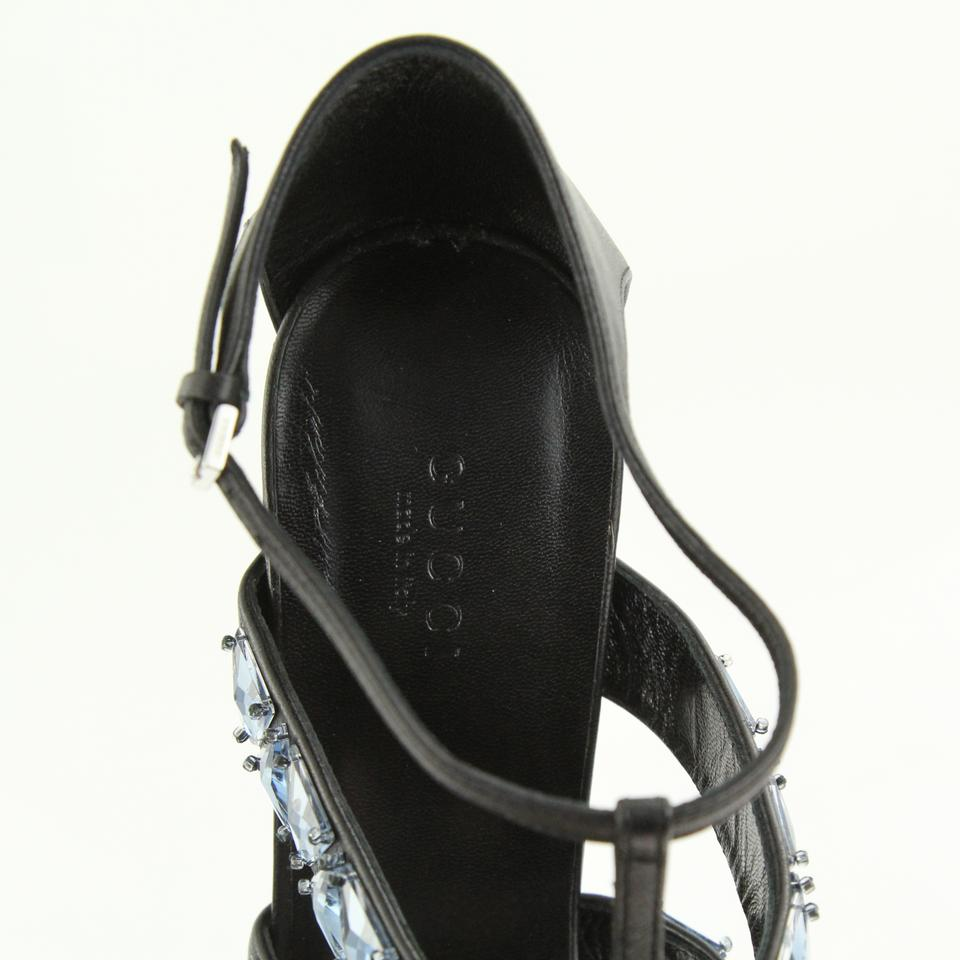 17c84df471ce Gucci Black Crystal Cage Leather Strappy Sandals Size EU 39 (Approx. US 9)  Regular (M