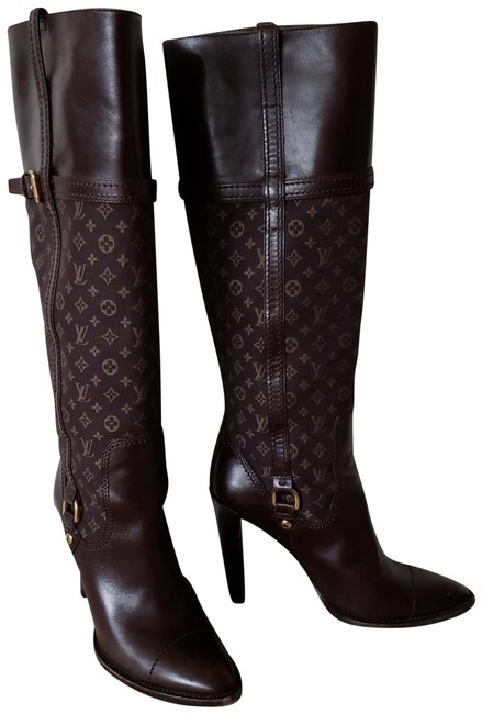 Item - Brown Leather Lv Print Pointed-toe Knee-high Boots/Booties Size EU 38.5 (Approx. US 8.5) Regular (M, B)