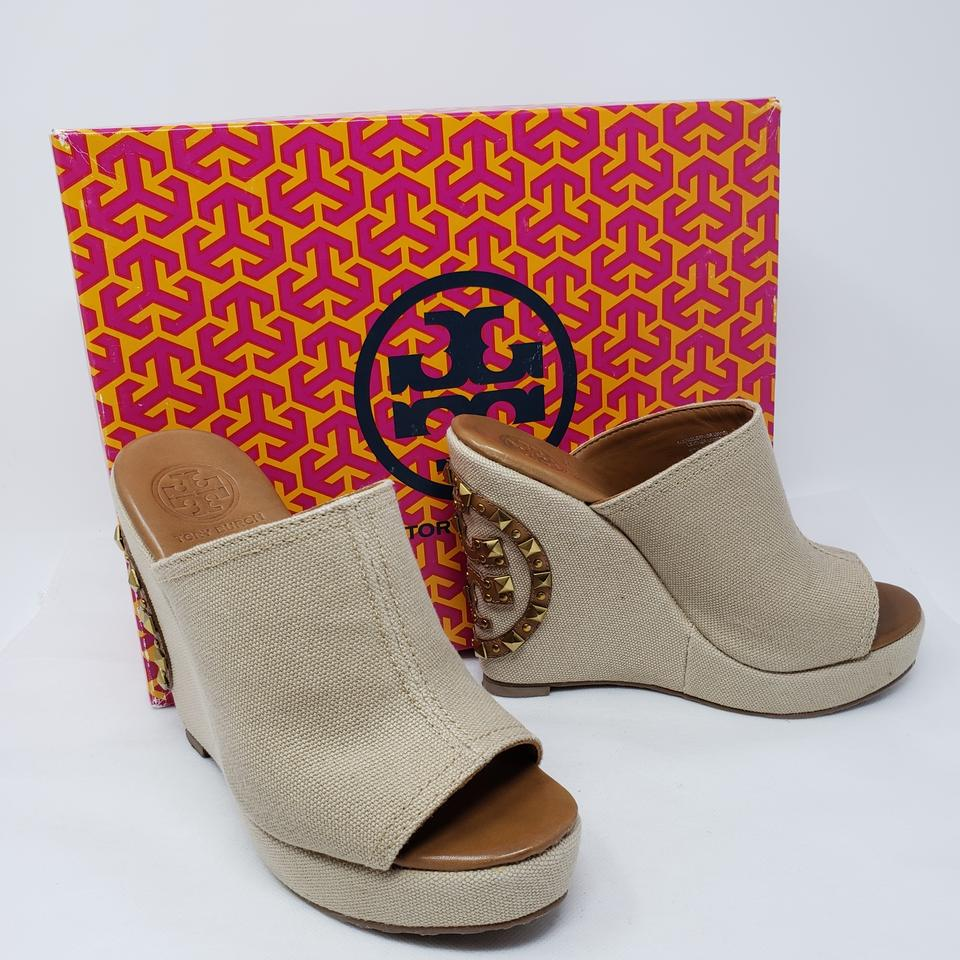 84193faaaf8 Tory Burch Beige Canvas Meredith Platform Wedge Sandals Size US 6 ...