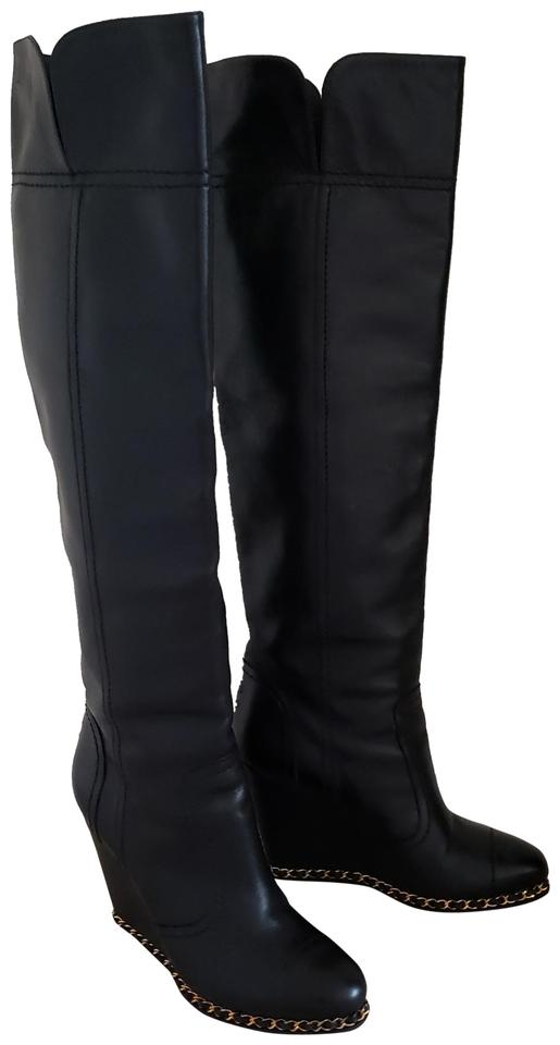 outlet store sale ever popular official images Chanel Black Leather Cc Logo Chain Round-toe Wedge Knee-high Boots ...