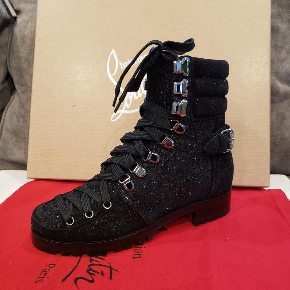 c440b32d3ade Christian Louboutin Black Who Runs Flat Suede Hiking Combat Lace Up Boots  Booties