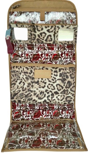 Item - Brown Beige Cream Leopard Ultrasuede Hang Toiletry Travel Cosmetic Bag