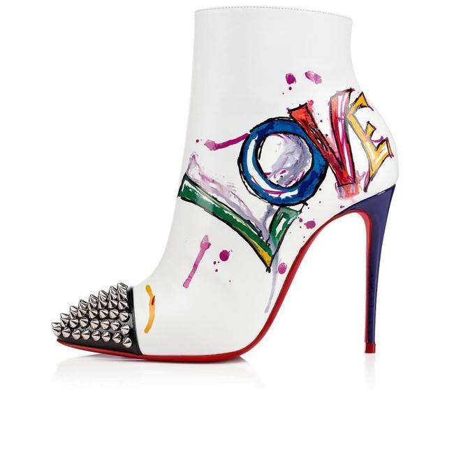 Item - White Love Is A 100 Printed Leather Spiked Studded Boots/Booties Size EU 37.5 (Approx. US 7.5) Regular (M, B)