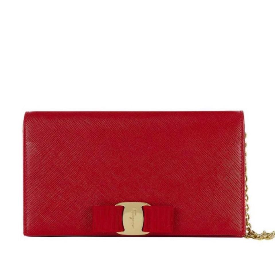 d5e7a4dd65 Salvatore Ferragamo Miss Vara Bow Wallet-on-chain Red with Gold ...
