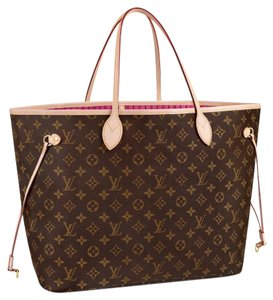 Louis Vuitton Neverfull Mm New With Tags Monogram Tote in pivone/ pink