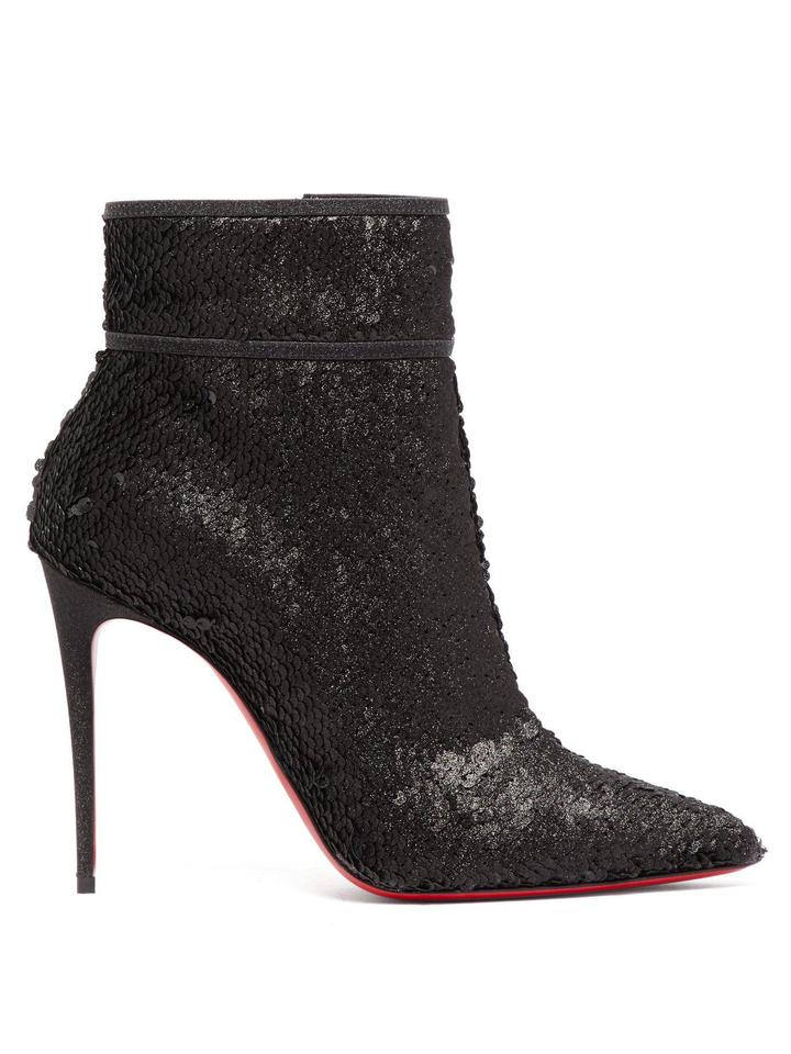 ffaf5af13587 Christian Louboutin Black Moulakate 100 Sequin Ankle Boots Booties. Size  EU  35.5 ...