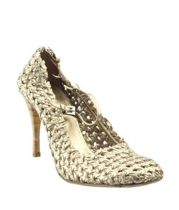 Prada Heels Xleather Pre-owned Silver-tone Italy Gold Pumps