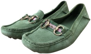 Gucci Suede Loafers Green Flats