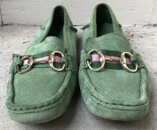Gucci Suede Loafers Green Flats Image 1