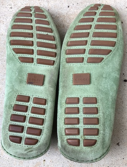 Gucci Suede Loafers Green Flats Image 11