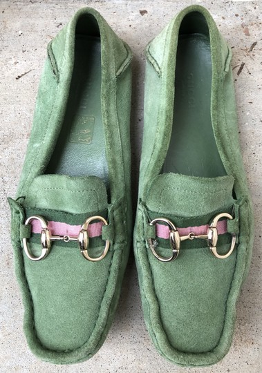 Gucci Suede Loafers Green Flats Image 2
